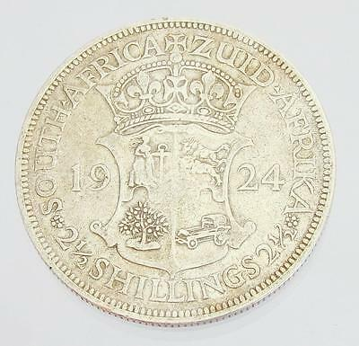 1924 South Africa 2-1/2 Shillings, Pre-Decimal Silver Coin, gVG