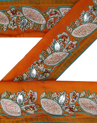 1YD Vintage Indian Sari Border Used Embroidered Trim Sewing Orange Ribbon Lace