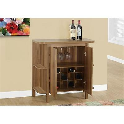 MonarchSpecialties 36 in. H, Home Bar With Bottle And Glass Storage Walnut