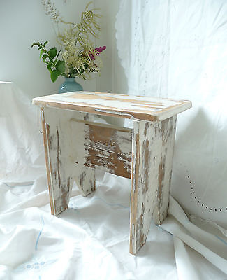 Vintage Style Wooden Stool Side Table Reclaimed Wood Antique White