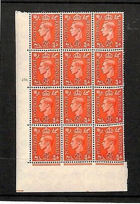 SS127 GB KGVI 2½d Pale Cylinder 12 Stamps Block 270 Unmounted Mint UM MNH