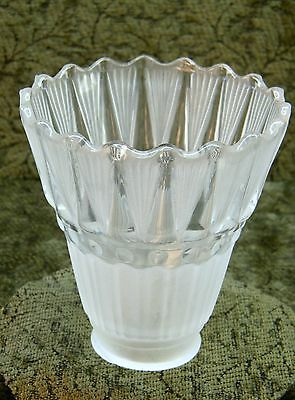 Frosted and Clear Glass Pleated Top Lamp Shade
