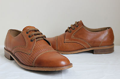 Vintage Trueform brown leather lace up derby shoes UK9 mens country geek 60s mod