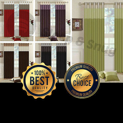 Luxurious Faux Silk Fully Lined Three Tone Eyelet Curtains ***Reduced***