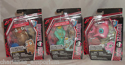 Monster High Secret Creepers Critters Pets Hissette Neptuna Captain Mattel NEW