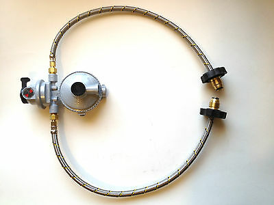 """Propane Regulator 2 way Automatic Changeover LP Gas 2 21"""" POL connector hoses"""