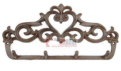 Cast Iron Fleur De Lis Scrolls Key Holder Wall Mounted Coat Rack Antique Style