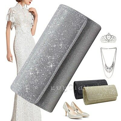 Ladies Glitter Evening Party Small Clutch Bag Bridal Purse Handbag Crossbody