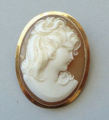 Antique Brooch Beautiful Edwardian Goddess Cameo Carved Shell 14k Gold