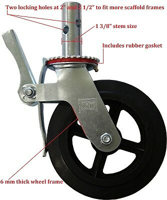 "Scaffold 8"" Rubber Caster Wheel with Double Locking Brakes and Two Looking holes"