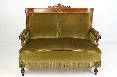Antique Continental Walnut 2 Seat Upholstered Sofa Settee Chaise