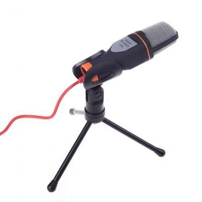 Mic Portable Wired Condenser Microphone Holder Clip for Chatting Singing PCBlack