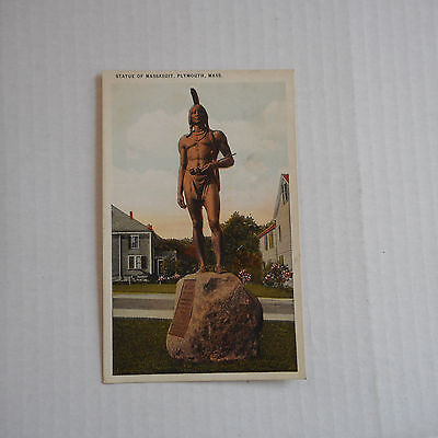 Vintage Postcard Statue of Massasoit, Plymouth Mass