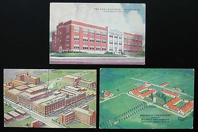 1910's Postcard Lot ~ 3 Postcards ~ ELI LILLY Research Biological Laboratories