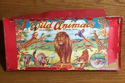 Vintage Crescent Toys of England Lead Painted Wild Animals w/Orig. Box!