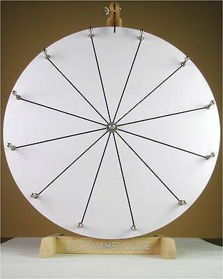 """20"""" YDL® Tabletop White Dry Erase Prize Wheel w 12 Slots & Wood Stand, Spinning"""