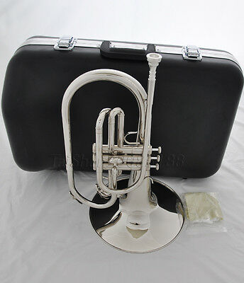 "Professional F key SILVER Marching Mellophone Horn with mouthpiece 10.4"" bell"