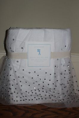 NWT Pottery Barn Kids Sequin Tulle twin bed skirt silver