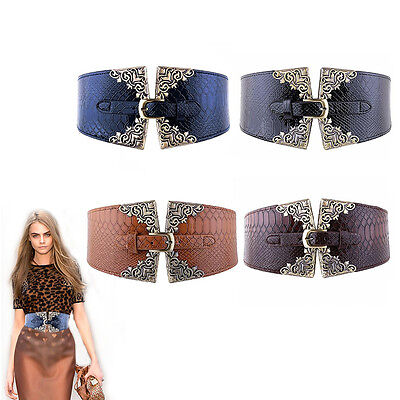 Waist Belt Leather Lady Elastic Wide Fashion Waistband Women Retro Metal Buckle