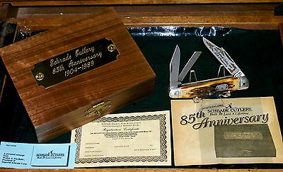 """Schrade 804 Knife Stag Whittler 85th Anniversary 3-7/8"""" 1989 W/Packaging,Papers"""