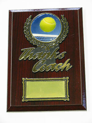 Tennis Thanks Coach Wooden Plaque / Trophy Engraved FREE