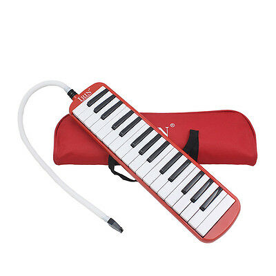 32 Piano Keys Melodica Musical Instrument forBeginners w/ Carrying Bag Red