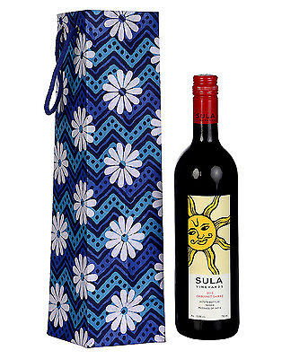Blue Wine Bottle Holder Printed Cardboard & Cotton Fabric Floral  For Gift