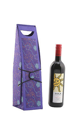 Printed Purple Floral Handicraft Paper & Cardboard Wine Bottle Holder For Gift