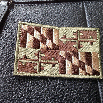 Maryland MD STATE FLAG USA ARMY MORALE TACTICAL MILITARY BADGE HOOK PATCH