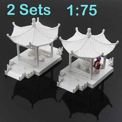 GY01075 2sets DIY Pavilion Model Gloriette Chinese Construction Educational 1:75