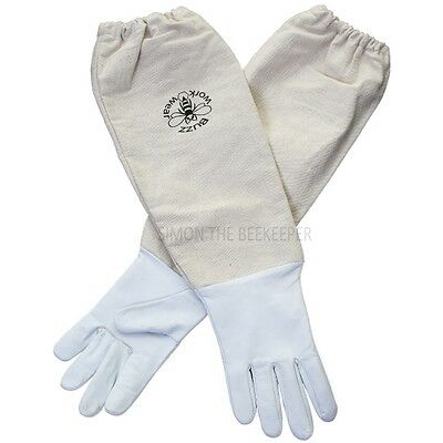 Children's Bee gloves - White leather. Age 11-13 years old