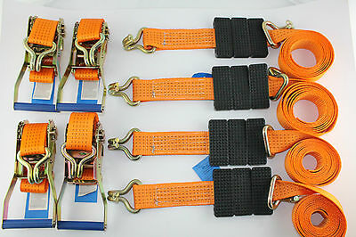 Recovery Ratchet Wheel Alloy Tie Down Car Straps Trailer Recovery Orange 5t x 4
