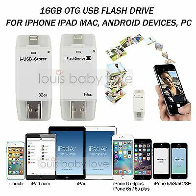 For Apple iOS iPhone iPad PC i-Flash Stick Device 16GB Dual USB OTG Memory Drive