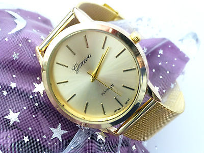 Gold men watch in Free gift pouch Fathers day Birthday gift buckle fastening