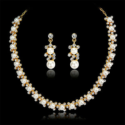 Crystal Pearl 18K Gold Plated Necklace&Earrings Wedding Party Bridal Jewelry Set