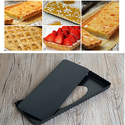 Fluted Rectangle Pie Tart Pan Mold Baking Removable Bottom Nonstick Quiche Tool