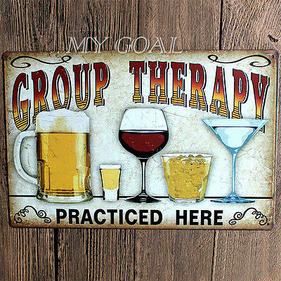 GROUP THERAPY Vintage Metal Tin Sheet Plaque Tavern Bar Decor Sign Wall Poster