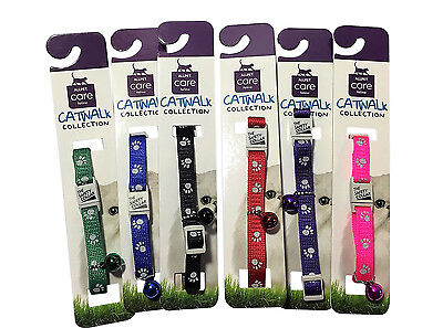 Collar Cat Kitten Dog Puppy Pet Pets safety release adjustable Nylon Reflective