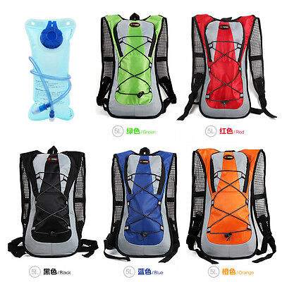 UK 5L Hydration Pack Backpack Outdoor Cycling Camping Hiking Water Bladder Bag