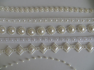 Saree Pearl look Ribbon Craft Lace Sewing Decoration Wedding Embroidery Trim Diy