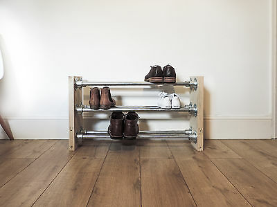 Industrial Galvanised Wooden Shoe Rack Storage Scaffold Board Furniture Upcycled