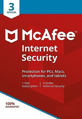 McAfee Internet Security 2017, 3 Multi-Devices, 1 Year (LATEST DOWNLOAD VERSION)