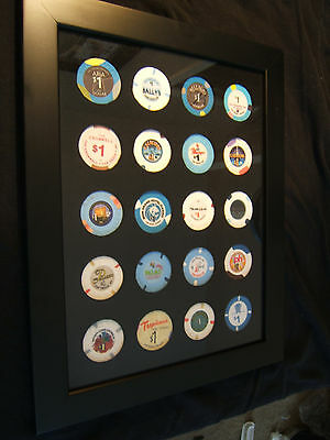 The Las Vegas Strip $1 Casino Chip Set Collection in Black Wood Quality Frame