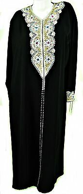 Full Length Long Sleeved Black Embroidered Robe & Scarf/hijab,tr094