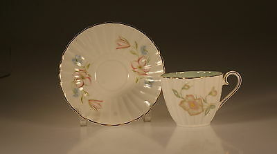 Susie Cooper 12 Flutes Floral Cup and Saucer, England