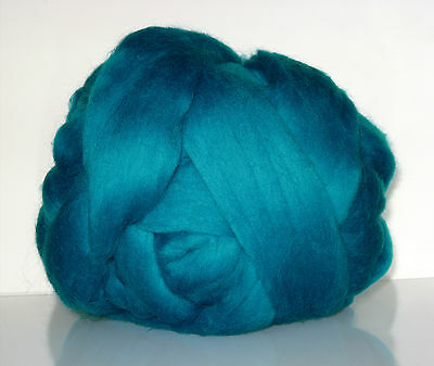 Extrafine Merino TOP Roving,19 microns. Combed wool. Bright Peacock Blue Emerald