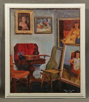 Early 20th Century Oil Painting signed Robert J. Freiman, Interior of a Room
