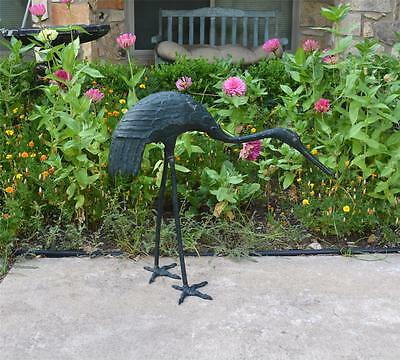 "Antique Cast Iron Metal Garden Heron Crane Egret Statue Life Size 25"" Tall"