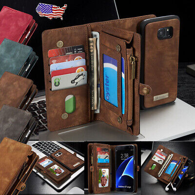 Leather Case Removable Wallet Magnetic Flip Cover For Samsung Galaxy S7/ S7 Edge