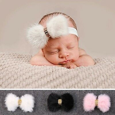 Baby/Toddler Girls Faux Fur Big Bow Headband  *Romany* Ivory/Pink/Black